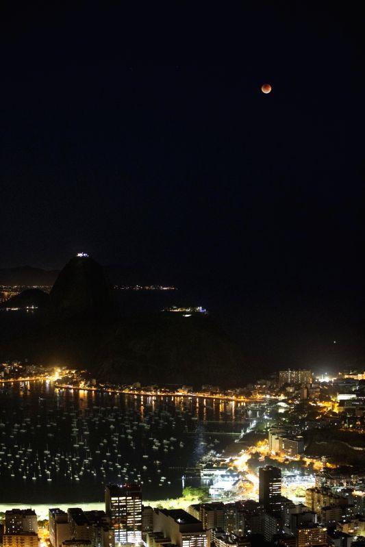 RIO DE JANEIRO, July 28, 2018 - The moon is seen during a lunar eclipse in Rio de Janeiro, Brazil, July 27, 2018.