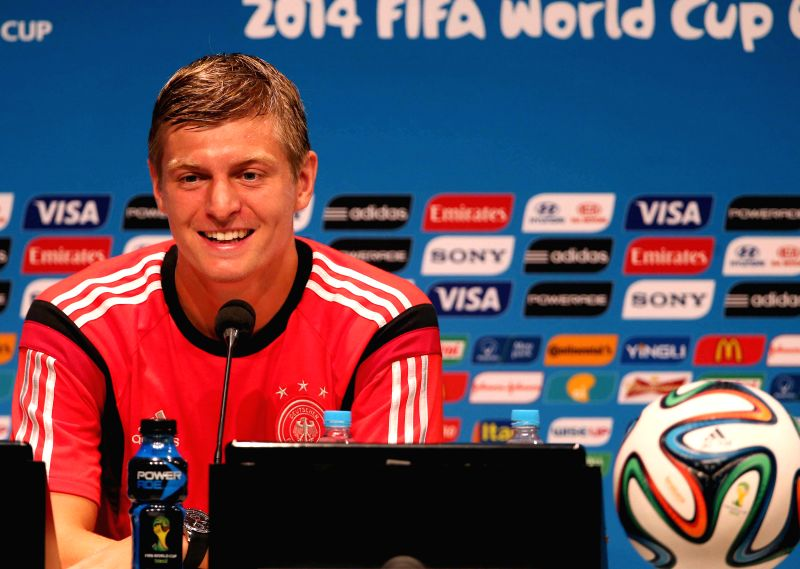 Germany's player Toni Kroos attends a press conference in Rio de Janeiro, Brazil, on July 3, 2014. Germany will face France on Friday in the quarter-final ...