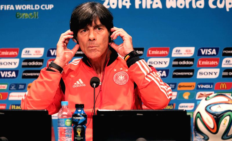 Germany's coach Joachim Loew attends a press conference in Rio de Janeiro, Brazil, on July 3, 2014. Germany will face France on Friday in the quarter-final ...
