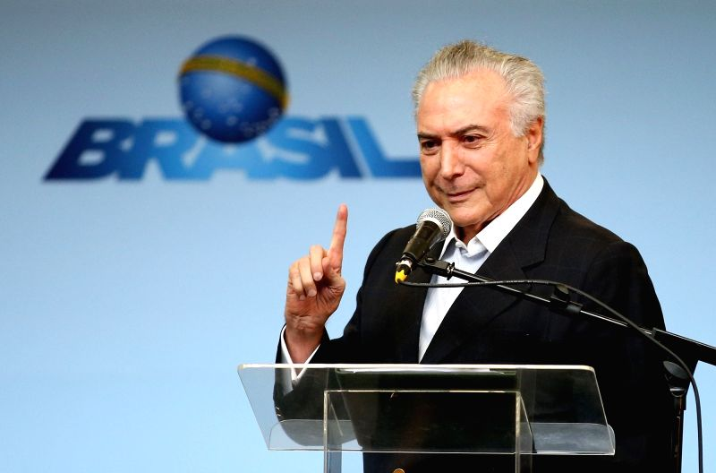 RIO DE JANEIRO, July, 30, 2016 (XINHUA)Brazil's interim President Michel Temer addresses during the inauguration ceremony held at the Jardim Oceacino station of metro line 4 in Barra da Tijuca, ...