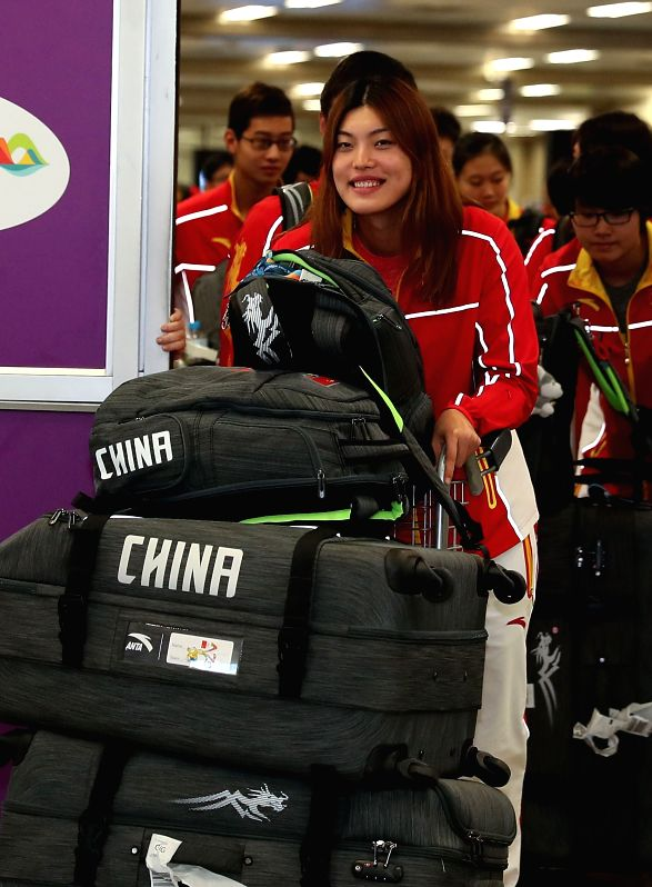 RIO DE JANEIRO, July 31, 2016 - Chinese swimming athlete Tang Yi arrives at the Galeao International Airport in Rio de Janeiro, Brazil, on July 31, 2016. The members of Chinese national swimming team ...