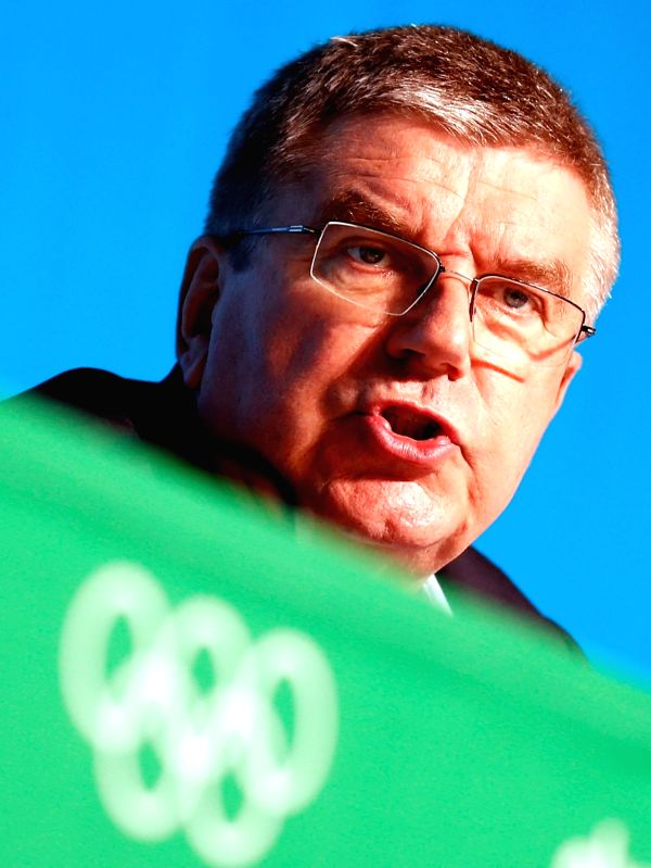RIO DE JANEIRO, July 31, 2016 - International Olympic Committee (IOC) President Thomas Bach addresses a press conference at the Main Press Center (MPC) of Rio Olympic Games in Rio de Janeiro, Brazil, ...