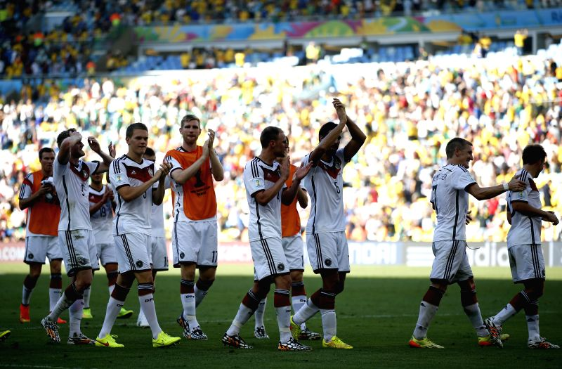 Germany's players applaud the fans after a quarter-finals match between France and Germany of 2014 FIFA World Cup at the Estadio do Maracana Stadium in Rio de