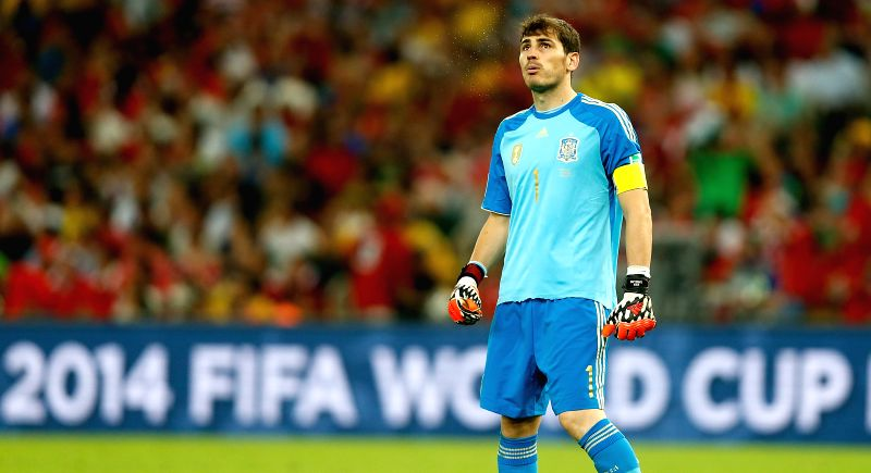 Spain's goalkeeper Iker Casillas is seen during a Group B match between Spain and Chile of 2014 FIFA World Cup at the Estadio do Maracana Stadium in Rio de ..