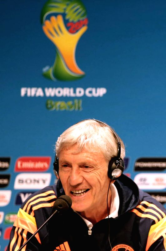 Colombia's National Team Coach Jose Pekerman attends a press conference in Rio de Janeiro, Brasil, on June 27, 2014. Colombia will face Uruguay next Saturday