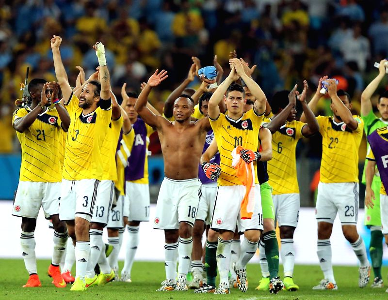Colombia's players greet the fans after a Round of 16 match between Colombia and Uruguay of 2014 FIFA World Cup at the Estadio do Maracana Stadium in Rio de .