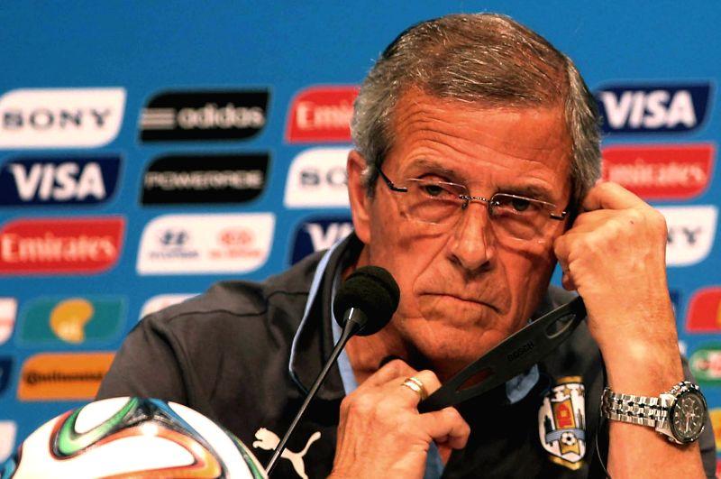 Uruguay's National Team Coach Oscar Washington Tabarez attends a press conference in Rio de Janeiro, Brazil, on June 27, 2014. Uruguay will face Colombia ...