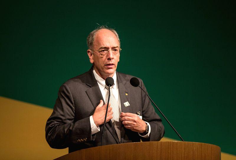 RIO DE JANEIRO, June 3, 2016 - Pedro Parente, new president of Brazilian oil giant Petrobras, addresses a ceremony at the Petrobras headquarters in Rio de Janeiro, Brazil, on June 2, 2016. Pedro ...