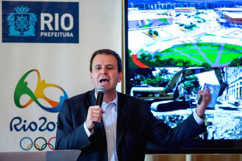 Rio de Janeiro's Mayor Eduardo Paes, speaks during a press conference, in Rio de Janeiro, Brazil, on March 20, 2015. The mayor briefed to the delegates from ...