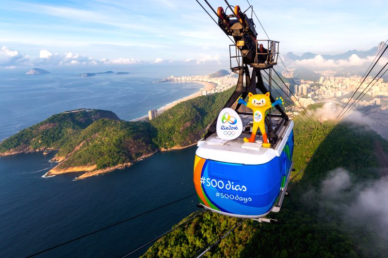 Photo provided by the Organizing Committee of Rio 2016 Olympic Games shows the mascot of Rio 2016 Olympic Games Vinicius standing on a cable carriage ...