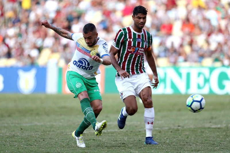 RIO DE JANEIRO, May 27, 2018 - Canteros (L) of Chapecoense shoots during the 2018 Brazilian (Brasileiro) Serie A 7th round match between Fluminense and Chapecoense at the Maracana Stadium, in Rio de ...