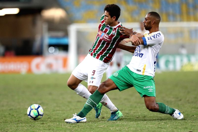 RIO DE JANEIRO, May 27, 2018 - Pedro (L) of Fluminense vies with Douglas of Chapecoense during the 2018 Brazilian (Brasileiro) Serie A 7th round match between Fluminense and Chapecoense at the ...
