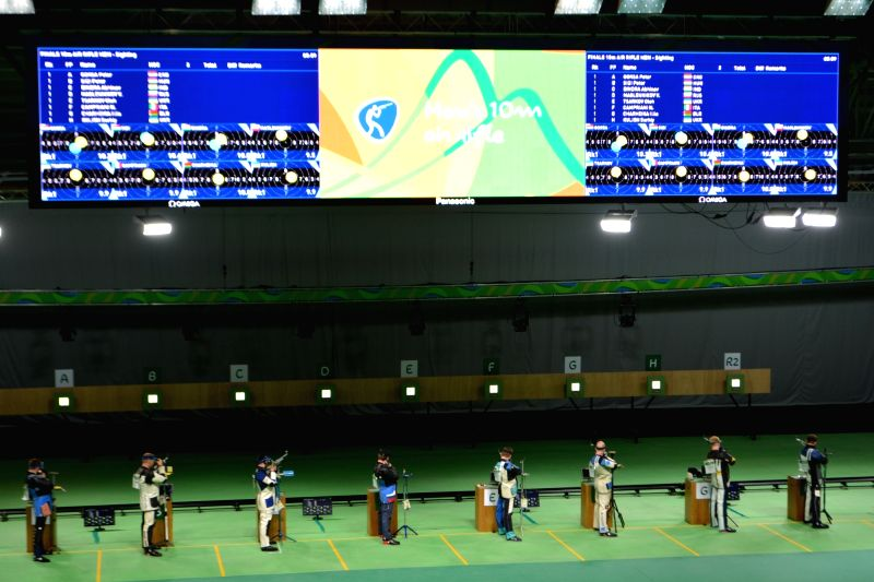 Rio de Janeiro: Shooters including Abhinav Bindra (Position C) line up for 10m Men''s Air Rifle - Qualifiers  at Olympic Shooting Range in Rio de Janeiro, Brazil on Aug 8, 2016.