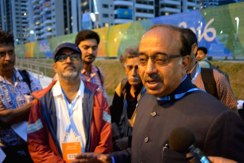 Rio de Janeiro: Union Minister of State for Youth and Sports Vijay Goel meets Indian journalists at the athletes village in Rio de Janeiro on Aug. 8, 2016.
