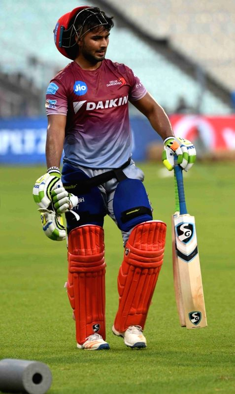 Rishabh Pant of Delhi Daredevils during a practice session at Eden Gardens in Kolkata on April 27, 2017.