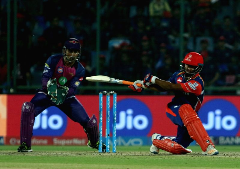 Rishabh Pant of Delhi Daredevils in action during match between the Delhi Daredevils and the Rising Pune Supergiant held at the Feroz Shah Kotla Stadium in Delhi on the May 12, 2017.