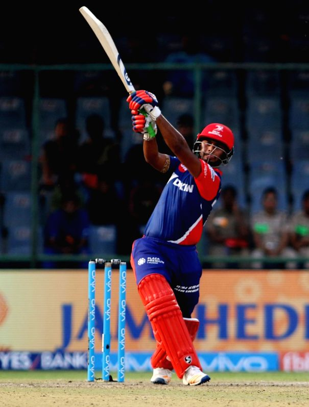 Rishabh Pant of Delhi Daredevils plays a shot during an IPL 2017 match between Delhi Daredevils and Kolkata Knight Riders at Feroz Shah Kotla in New Delhi on April 17. 2017. - Feroz Shah Kotla