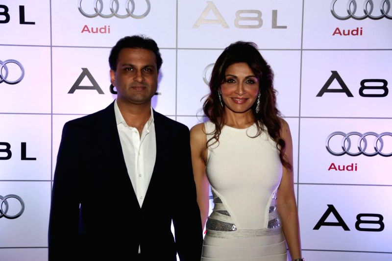 Rishi Sethia and Queenie Singh during the launch of Audi A8L in Dubai. - Queenie Singh