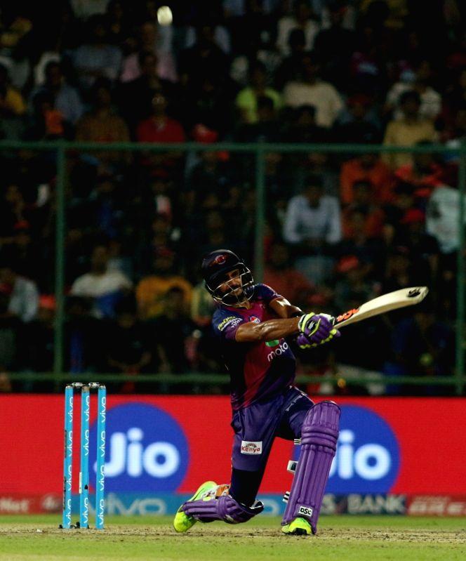 Rising Pune Supergiant batsman Manoj Tiwari in action during match between the Delhi Daredevils and the Rising Pune Supergiant held at the Feroz Shah Kotla Stadium in Delhi on May 12, ... - Manoj Tiwari