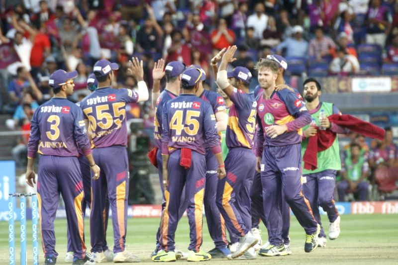 Rising Pune Supergiant celebrate fall of a wicket during an IPL 2017 match between Rising Pune Supergiant and Royal Challengers Bangalore at Maharashtra Cricket Association Stadium in Pune on ...