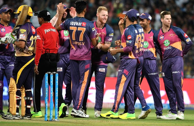 Rising Pune Supergiant celebrate fall of a wicket during an IPL 2017 match between Kolkata Knight Riders and Rising Pune Supergiant at Eden Gardens in Kolkata, on May 3, 2017.