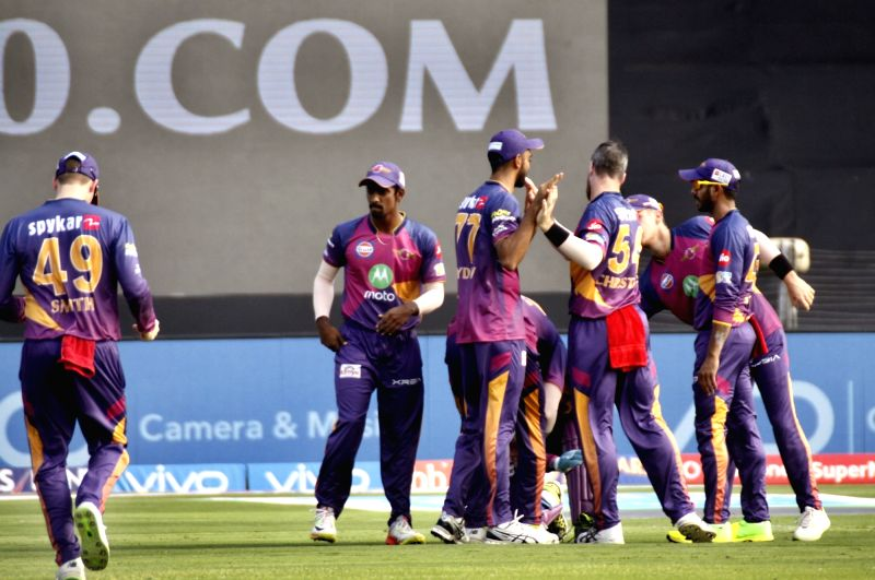 Rising Pune Supergiant celebrate fall of a wicket  during an IPL 2017 match between Rising Pune Supergiant and Kings XI Punjab at Maharashtra Cricket Association Stadium in Pune on May 14, 2017.