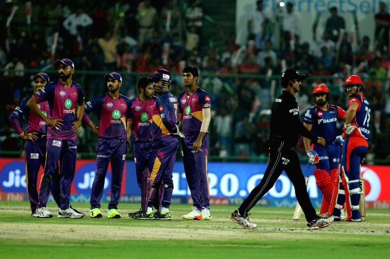 Rising Pune Supergiant Players celebrates the wicket of Corey Anderson of the Delhi Daredevils during match between the Delhi Daredevils and the Rising Pune Supergiant held at the Feroz ...