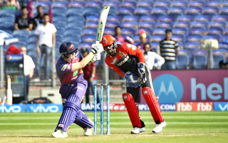 Rising Pune Supergiant skipper Steve Smith in action during an IPL 2017 match between Rising Pune Supergiant and Royal Challengers Bangalore at Maharashtra Cricket Association Stadium in Pune ...