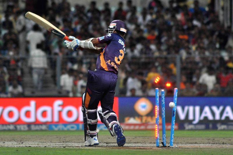 Rising Pune Supergiants batsman Ajinkya Rahane gets dismissed during an IPL match between Kolkata Knight Riders and Rising Pune Supergiants at Eden Gardens in Kolkata on May 14, 2016. - Ajinkya Rahane
