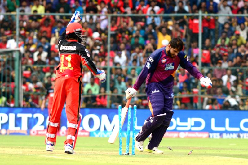 Rising Pune Supergiants batsman Saurabh Tiwar gets dismissed during an IPL match between Royal Challengers Bangalore and Rising Pune Supergiants at M Chinnaswamy Stadium in Bengaluru on ... - Saurabh Tiwar