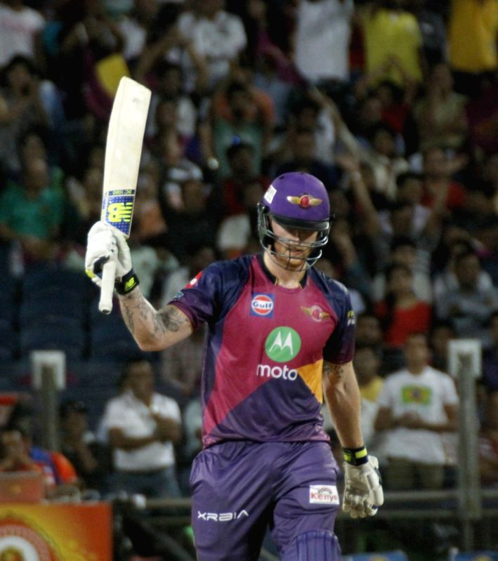 Rising Pune Supergiants' Ben Stokes celebrates his half century during an IPL 2017 match between Rising Pune Supergiant and Gujarat Lions at Maharashtra Cricket Association Stadium in Pune on ...