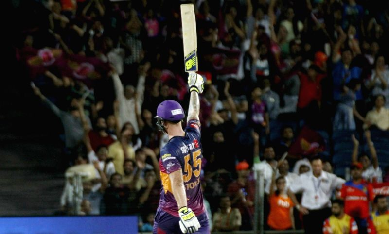 Rising Pune Supergiants' Ben Stokes celebrates his century during an IPL 2017 match between Rising Pune Supergiant and Gujarat Lions at Maharashtra Cricket Association Stadium in Pune on May 1, ...