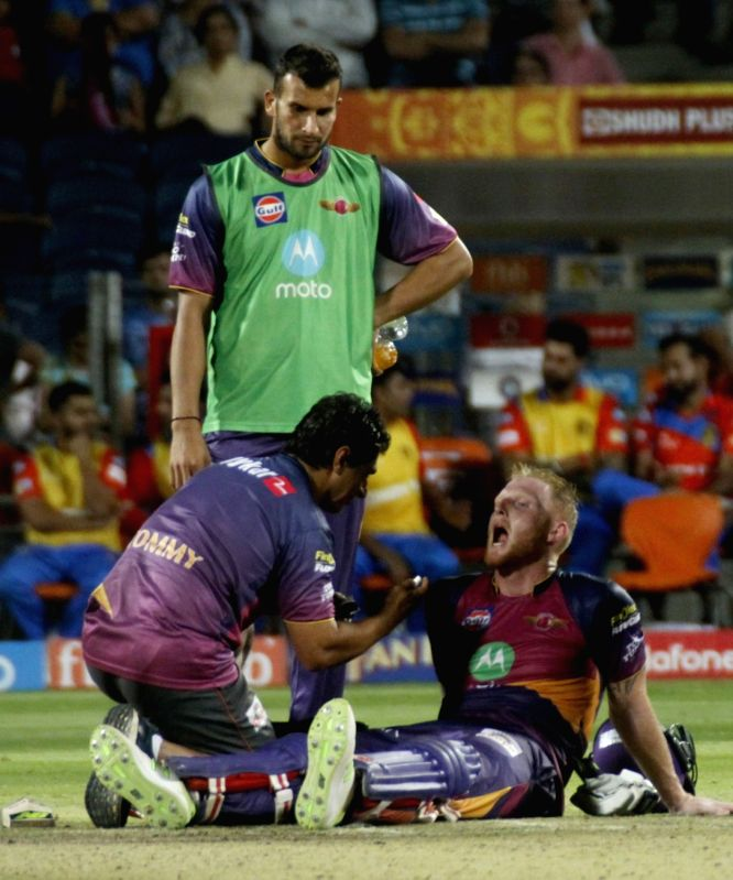 Rising Pune Supergiants' Ben Stokes during an IPL 2017 match between Rising Pune Supergiant and Gujarat Lions at Maharashtra Cricket Association Stadium in Pune on May 1, 2017.