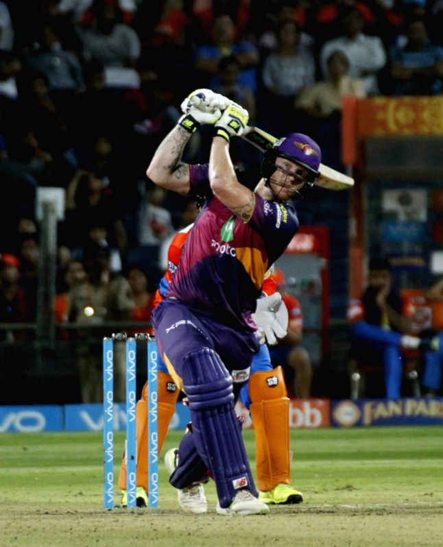 Rising Pune Supergiants' Ben Stokes plays a shot during an IPL 2017 match between Rising Pune Supergiant and Gujarat Lions at Maharashtra Cricket Association Stadium in Pune on May 1, 2017.
