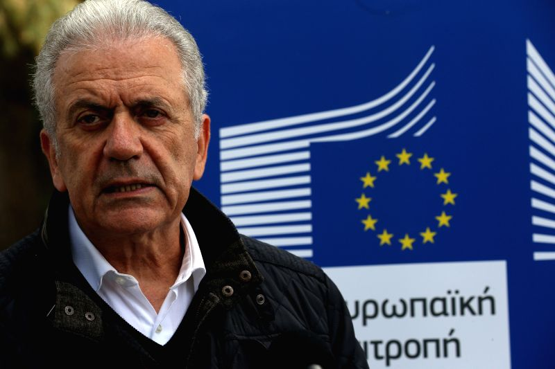 RITSONA (GREECE), April 12, 2018 EU Commissioner for Migration, Home Affairs and Citizenship Dimitris Avramopoulos visits the refugee camp of Ritsona, about 86 kilometers north of Athens, ...