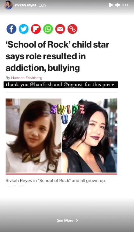 """Rivkah Reyes, who made a mark as a child actor in the 2003 film """"School Of Rock"""", has revealed that the film's success resulted in bullying and addiction. (Instagram)"""
