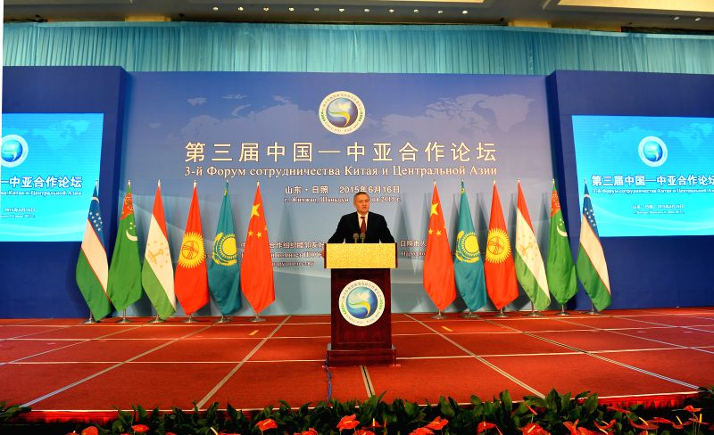 First Deputy Prime Minister of Uzbekistan Rustam Azimov addresses the opening ceremony of the third China-Central Asia cooperation forum in Rizhao, east China's ...