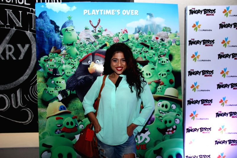 RJ Malishka during the premier of film The Angry Birds in Mumbai, on May 26, 2016.