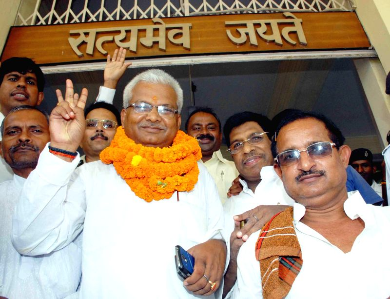 RJD candidate Bhola Yadav after filing nomination for membership of Bihar Legislative Council in Patna on Aug 28, 2014.
