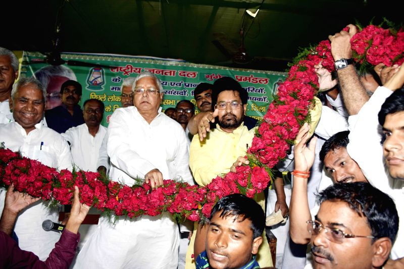 RJD chief during a party meeting - Lalu Prasad Yadav