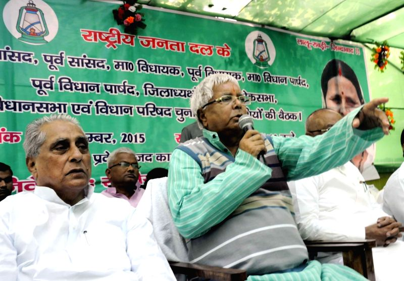 RJD chief Lalu Prasad Yadav during a party meeting in Patna, on Nov 24, 2015. - Lalu Prasad Yadav