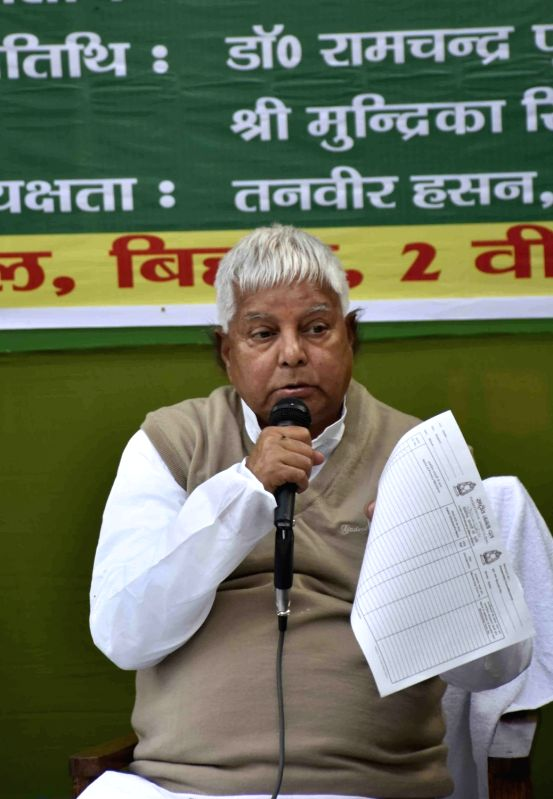 RJD chief Lalu Prasad Yadav during a party meeting in Patna, on Dec 4, 2015. - Lalu Prasad Yadav