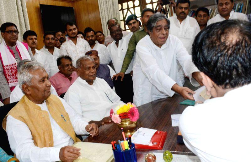 RJD leader Khurshid Mohsin files nomination papers for the April 26 Bihar council polls at Bihar Legislative Assembly in Patna, on April 13, 2018.