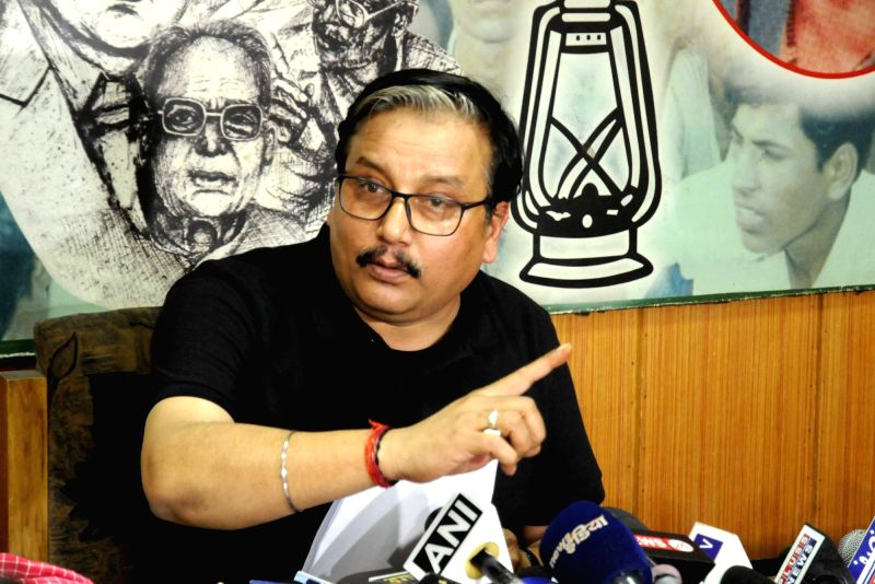 RJD leader Manoj Jha addresses a press conference in Patna on May 5, 2017.