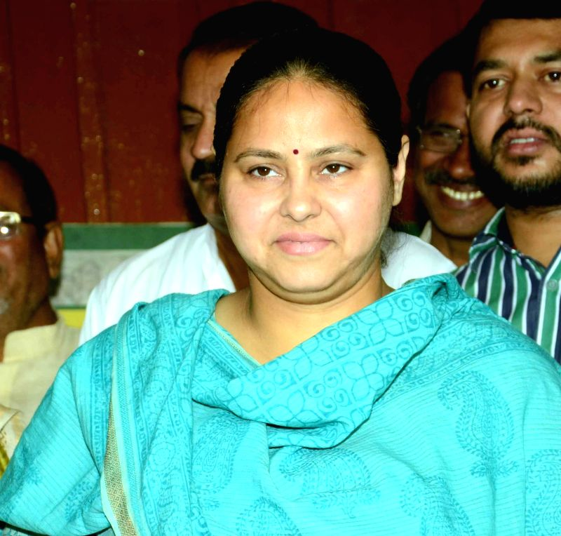 RJD leader Misa Bharti addresses a press conference in Patna on Oct 27, 2015.