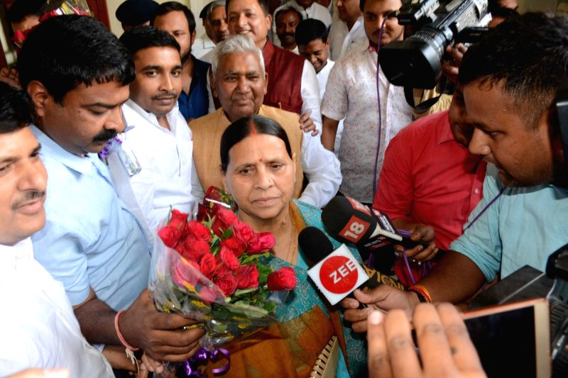 RJD leader Rabri Devi at Bihar Legislative Assembly to file nomination papers for the April 26 Bihar council polls in Patna, on April 13, 2018.