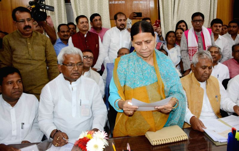 RJD leader Rabri Devi files nomination papers for the April 26 Bihar council polls at Bihar Legislative Assembly in Patna, on April 13, 2018. (Photo: IANS