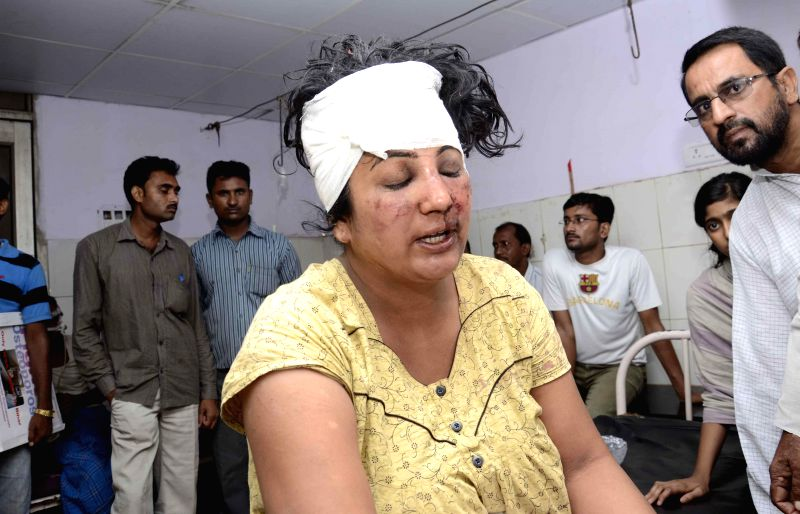 RJD leader Sangeeta Devi admitted at PMCH in Patna after being assaulted by local hoodlums in Jahanabad of Bihar on July 17, 2014.