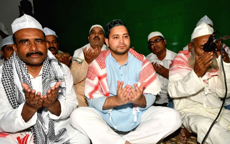 RJD leader Tejashwi Yadav during an iftaar party at his residence in Patna, on June 13, 2018. - Tejashwi Yadav