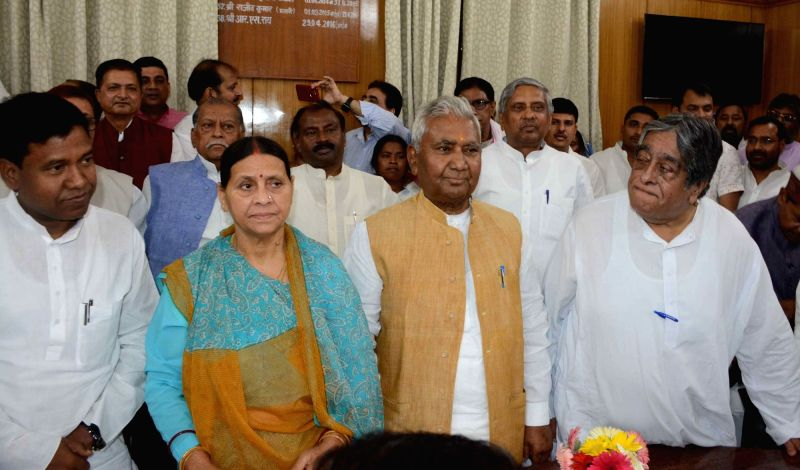 RJD leaders Rabri Devi, Ram Chander Purve and Khurshid Mohsin with Santosh Manjhi, son of Hindustani Awam Morcha chief Jitan Ram Manjhi  at Bihar Legislative Assembly to file nomination papers ...